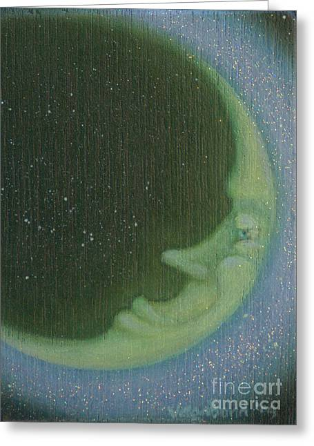 Green Moon Greeting Card by Suzn Art Memorial