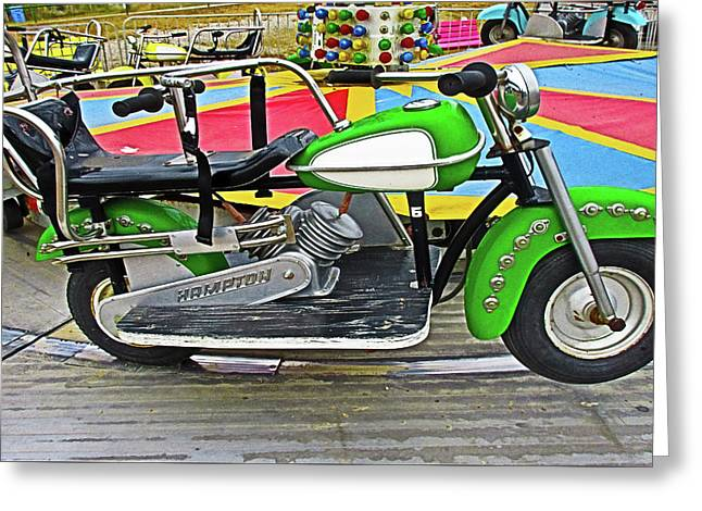 Green Motorcycle Ride Greeting Card by Tony Grider