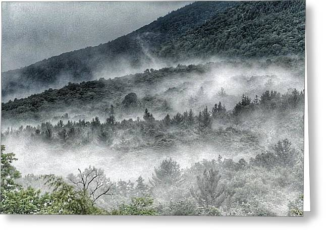 Green Mountains With Fog Greeting Card by Penni D'Aulerio