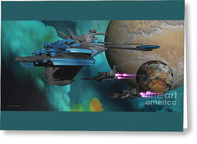 Green Nebular Expanse Greeting Card by Corey Ford
