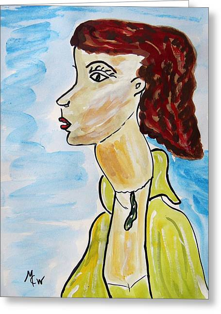 Greeting Card featuring the painting Green Necklace Green Eyes by Mary Carol Williams
