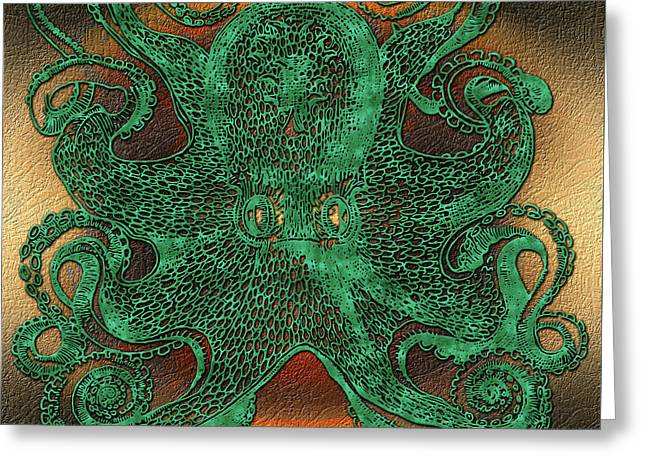 Green Octopus Greeting Card