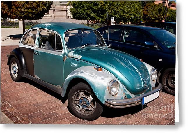 Green Old Vintage Volkswagen Car Greeting Card by Arletta Cwalina
