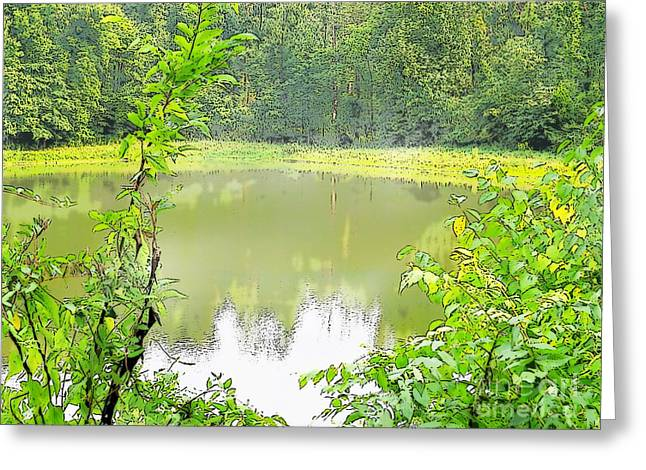 Green On Lake Greeting Card