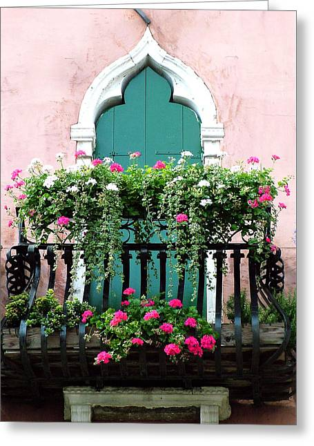 Green Ornate Door With Geraniums Greeting Card by Donna Corless