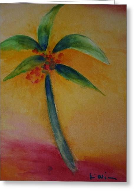 Green Palm Greeting Card by Karin Eisermann