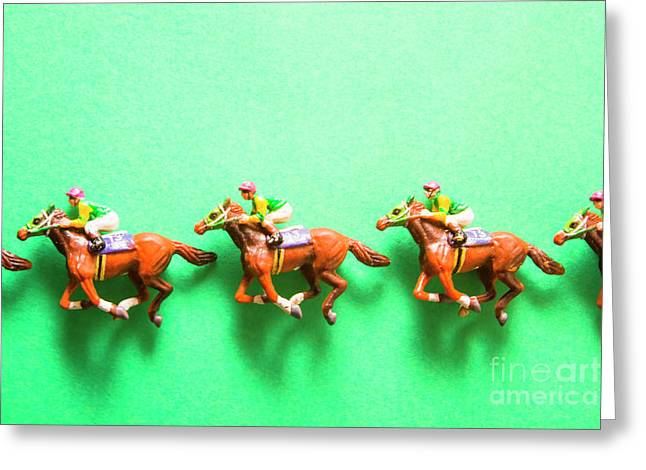 Green Paper Racecourse Greeting Card