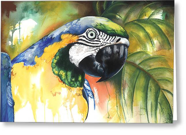 Spirt Mixed Media Greeting Cards - Green Parrot Greeting Card by Anthony Burks Sr