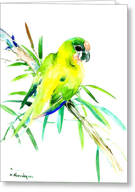 Green Parrot Greeting Card by Suren Nersisyan