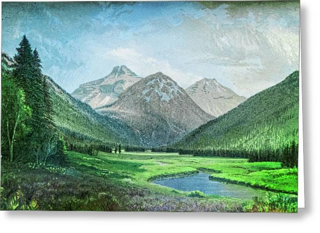 Green Pastoral Valley Greeting Card by Douglas Barnett