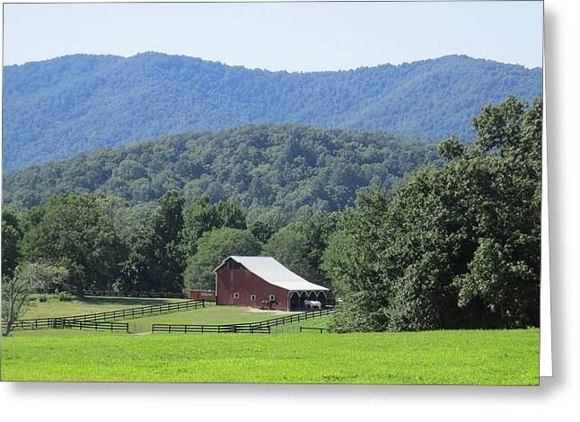 Mountain Barn Retreat Greeting Card by Charlotte Gray