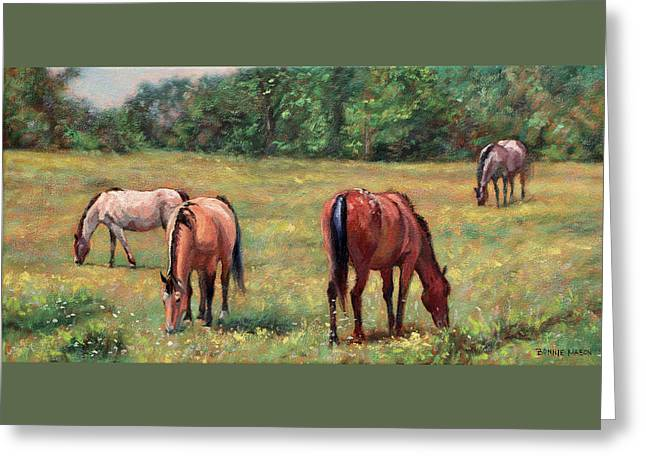Green Pastures - Horses Grazing In A Field Greeting Card