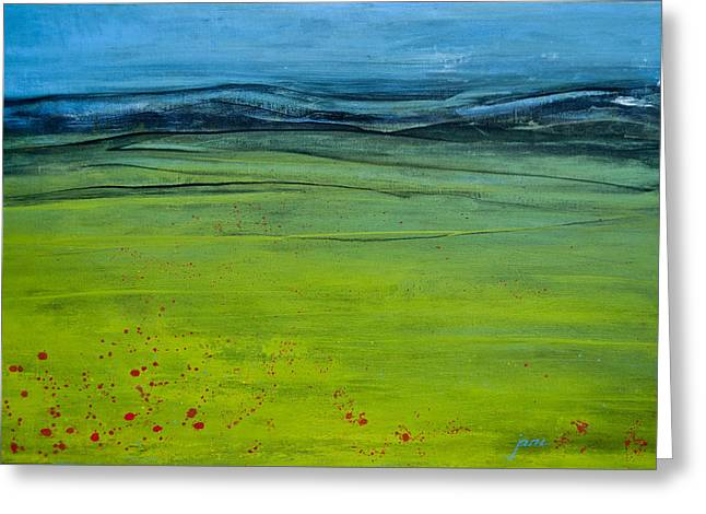 Green Pastures Greeting Card by Jani Freimann