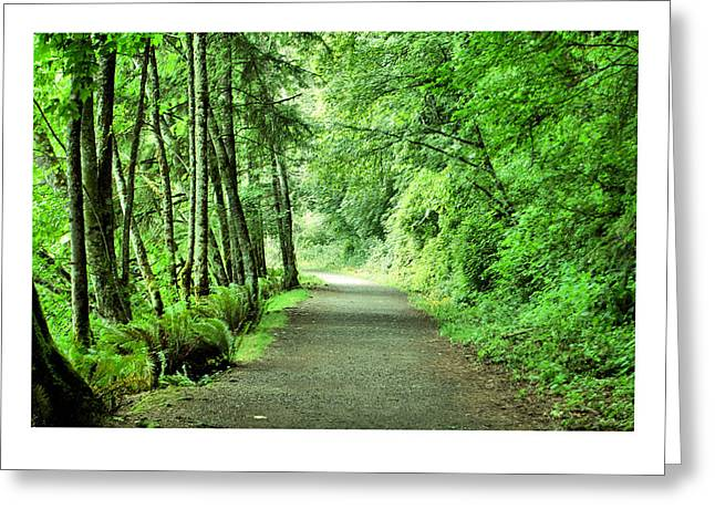 Green Path Greeting Card by J D Banks