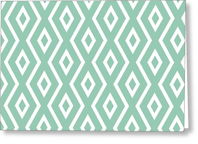 Bedroom Art Greeting Cards - Green Pattern Greeting Card by Christina Rollo