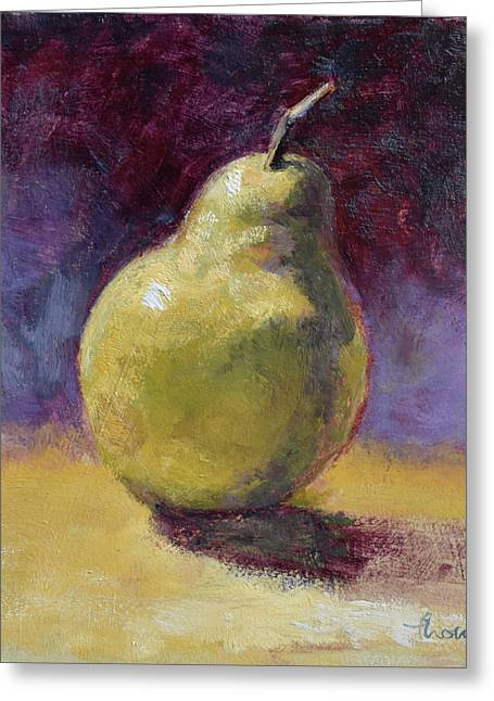 Green Pear Still Life Greeting Card