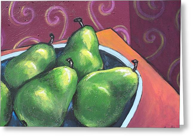 Green Pears In A Bowl Greeting Card