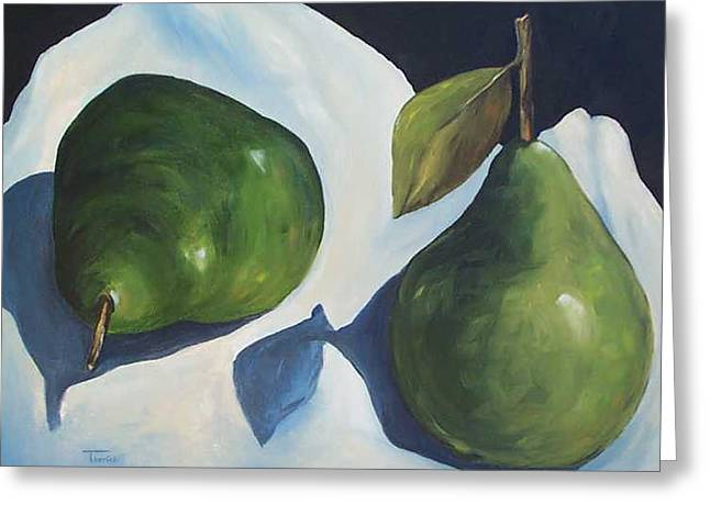Green Pears On Linen - 2007 Greeting Card by Torrie Smiley