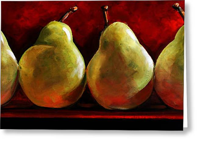 Pears Greeting Cards - Green Pears on Red Greeting Card by Toni Grote