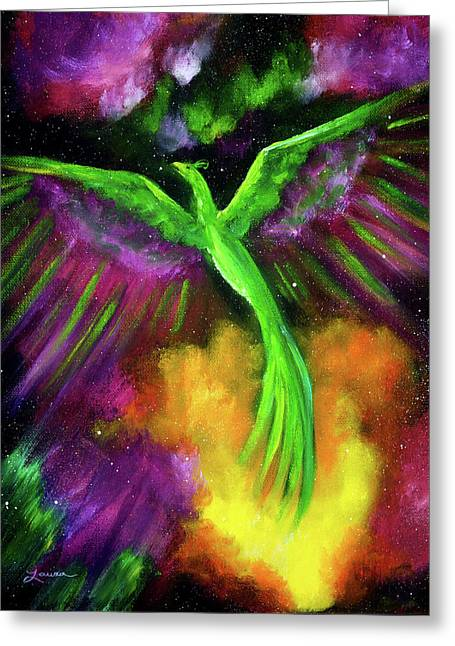 Green Phoenix In Bright Cosmos Greeting Card