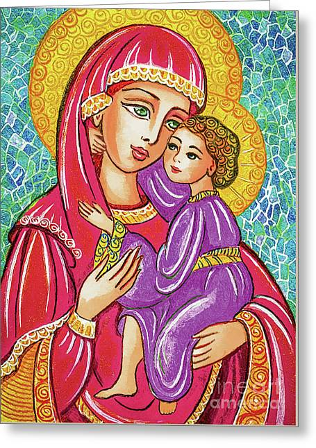 Greeting Card featuring the painting Green Ray Madonna by Eva Campbell