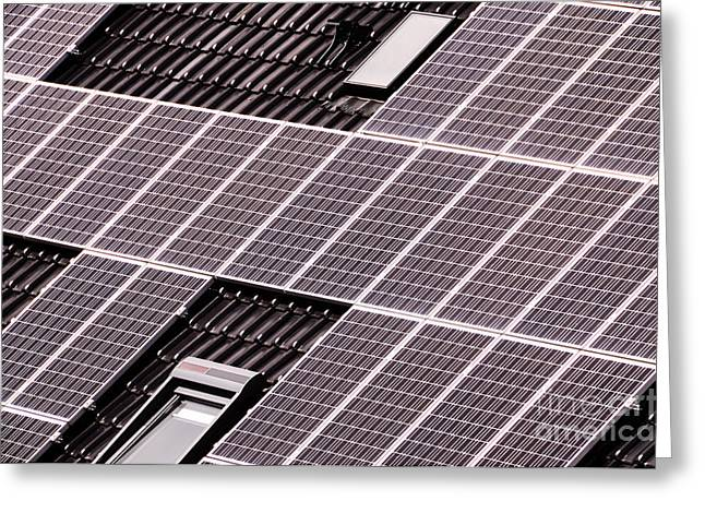 Green Renewable Energy With Photovoltaic Panels Greeting Card by Alberto Giacomazzi