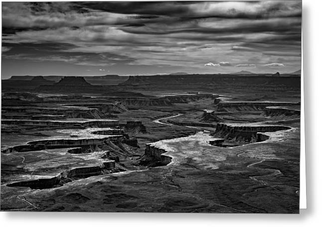 Green River In Black And White Greeting Card