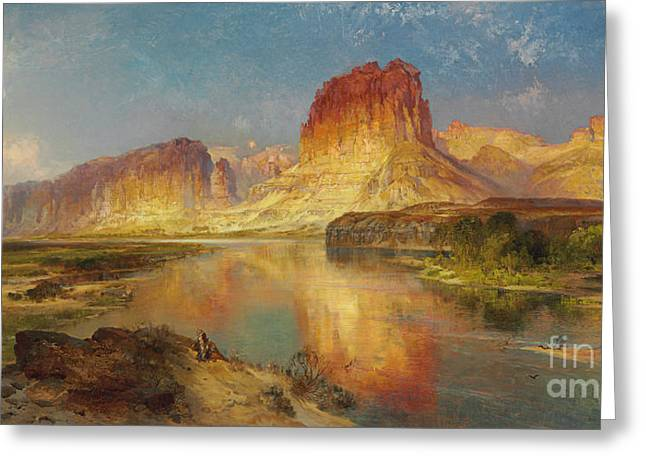 The Great Outdoors Greeting Cards - Green River of Wyoming Greeting Card by Thomas Moran