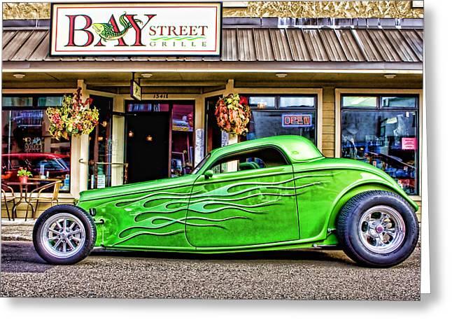 Green Roadster Greeting Card
