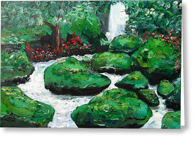 Greeting Card featuring the painting Green Rock Creek by Dan Whittemore