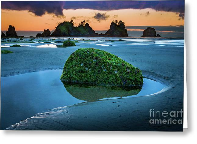 Green Rock Greeting Card by Inge Johnsson