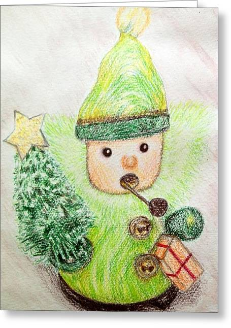 Green Santa Claus With A Pipe Greeting Card