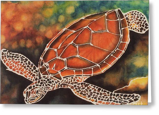 Green Sea Turtle Greeting Card by Jacqueline Phillips-Weatherly