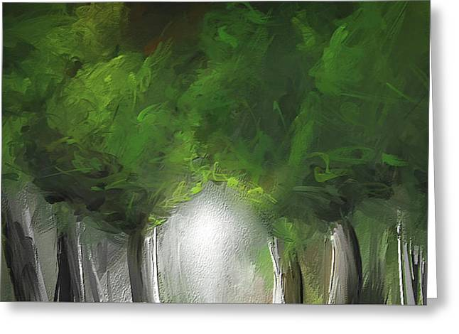 Green Serenity - Green Abstract Art Greeting Card