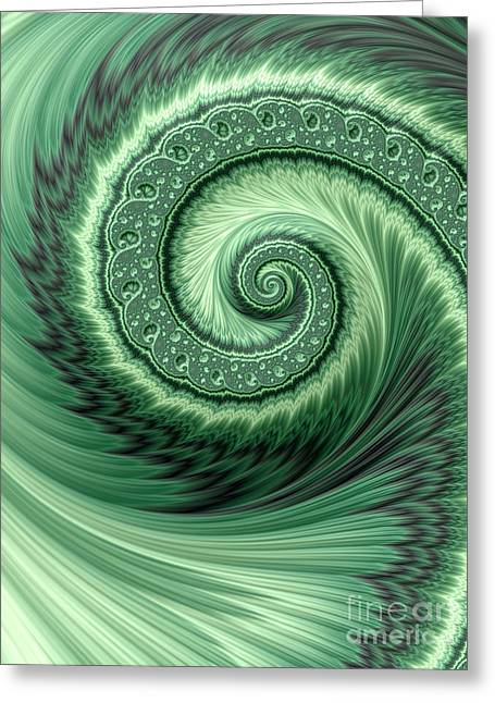 Green Shell Greeting Card by John Edwards