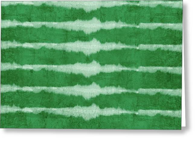 Green Shibori 3- Art By Linda Woods Greeting Card