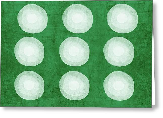 Green Shibori 4- Art By Linda Woods Greeting Card