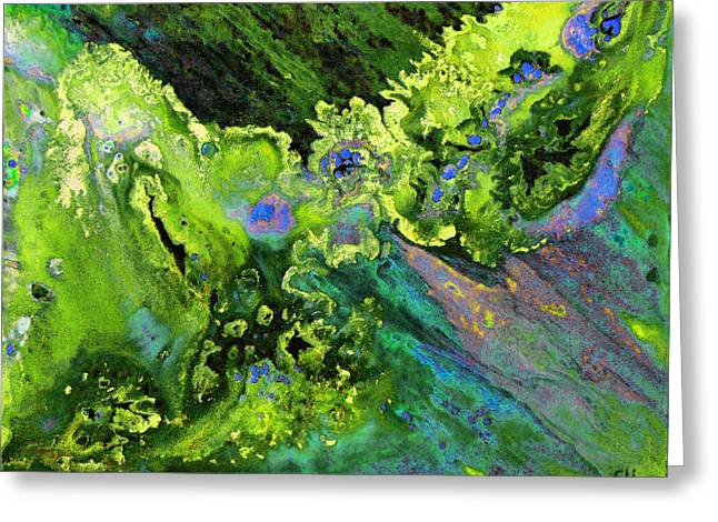 Green Shower Abstract Nebula Greeting Card