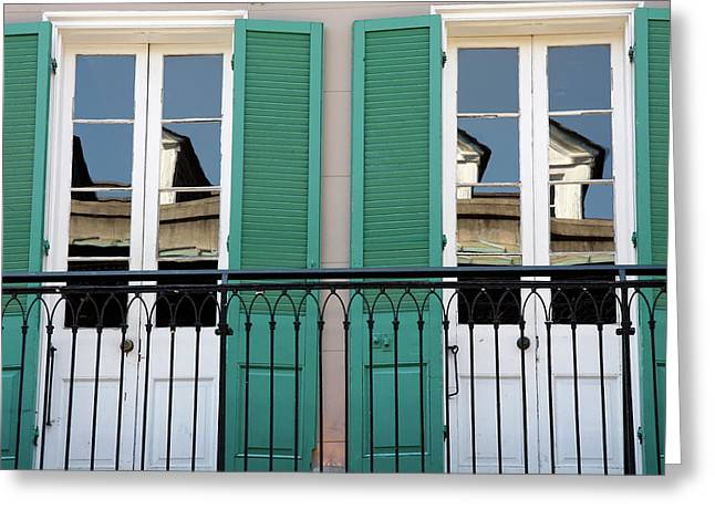 Greeting Card featuring the photograph Green Shutters Reflections by KG Thienemann