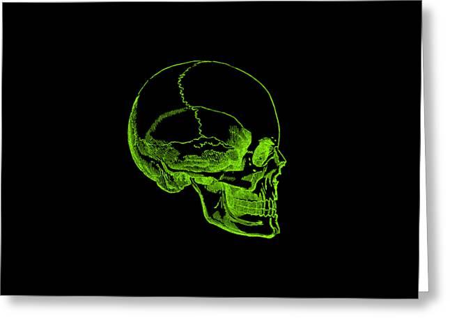 Greeting Card featuring the digital art Green Skull by Jennifer Hotai