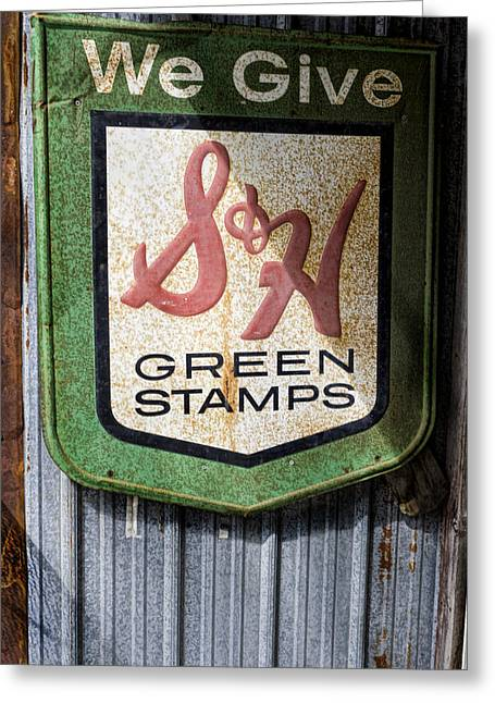 Green Stamp Sign Greeting Card by Peter Chilelli