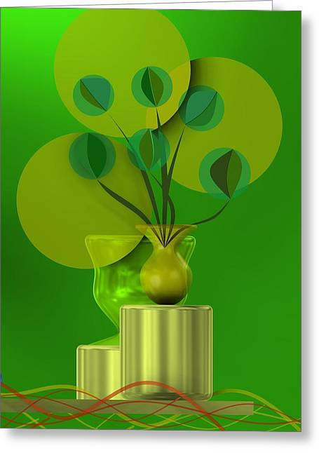 Green Still Life With Abstract Flowers, Greeting Card