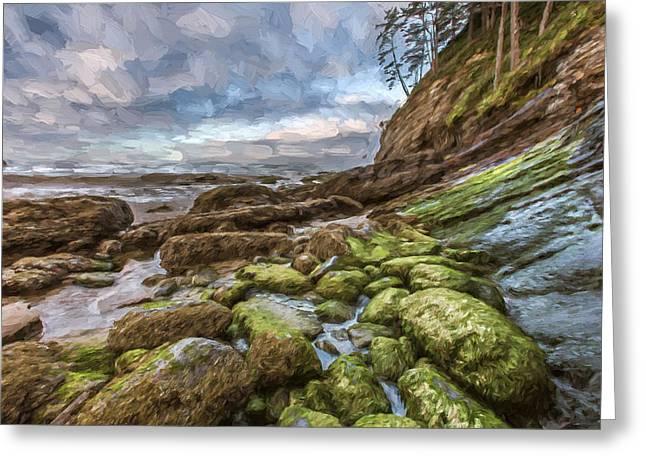 Green Stone Shore II Greeting Card by Jon Glaser