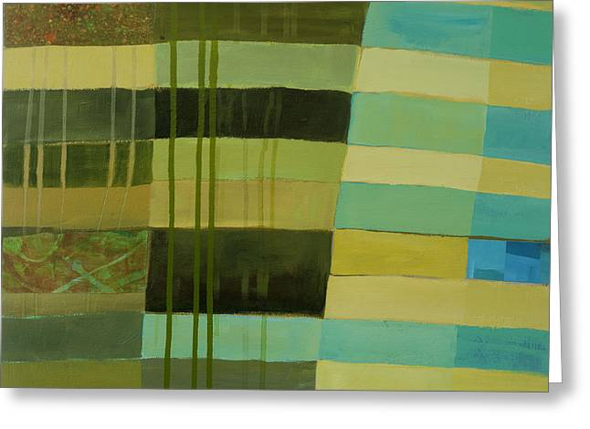 Green Stripes 1 Greeting Card by Jane Davies
