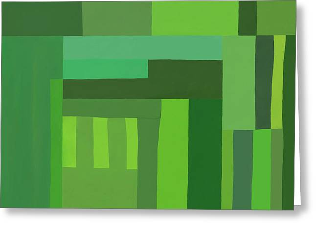 Greeting Card featuring the digital art Green Stripes 3 by Elena Nosyreva