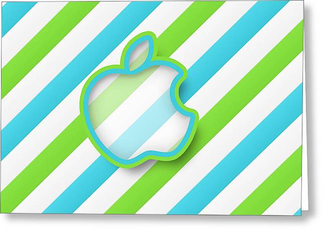 Green Stripes Apple Hd Greeting Card