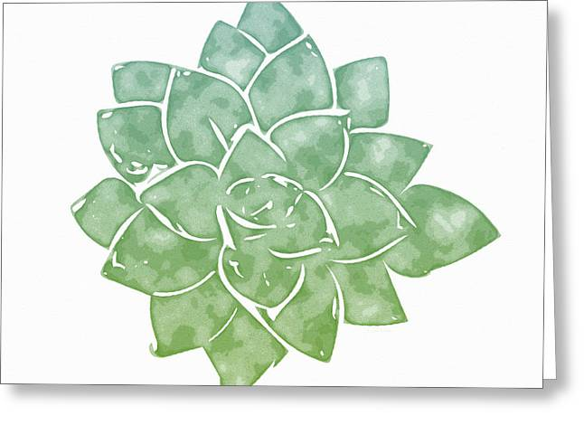 Green Succulent 1- Art By Linda Woods Greeting Card by Linda Woods