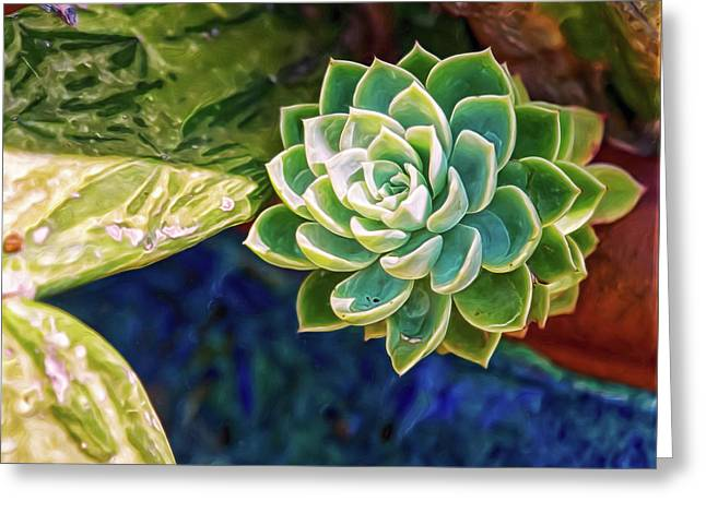 Greeting Card featuring the digital art Green Succulent by Doctor Mehta