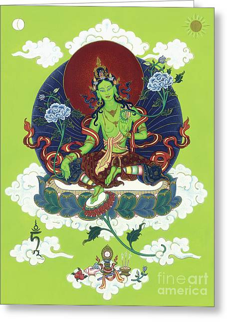 Recently Sold -  - Tibetan Buddhism Greeting Cards - Green Tara Greeting Card by Carmen Mensink