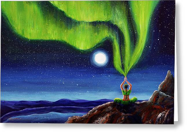 Green Tara Creating The Aurora Borealis Greeting Card by Laura Iverson